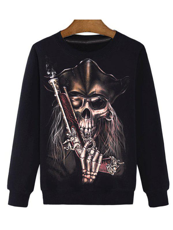 Round Neck Long Sleeve Gun 3D Print Sweatshirt - BLACK XL