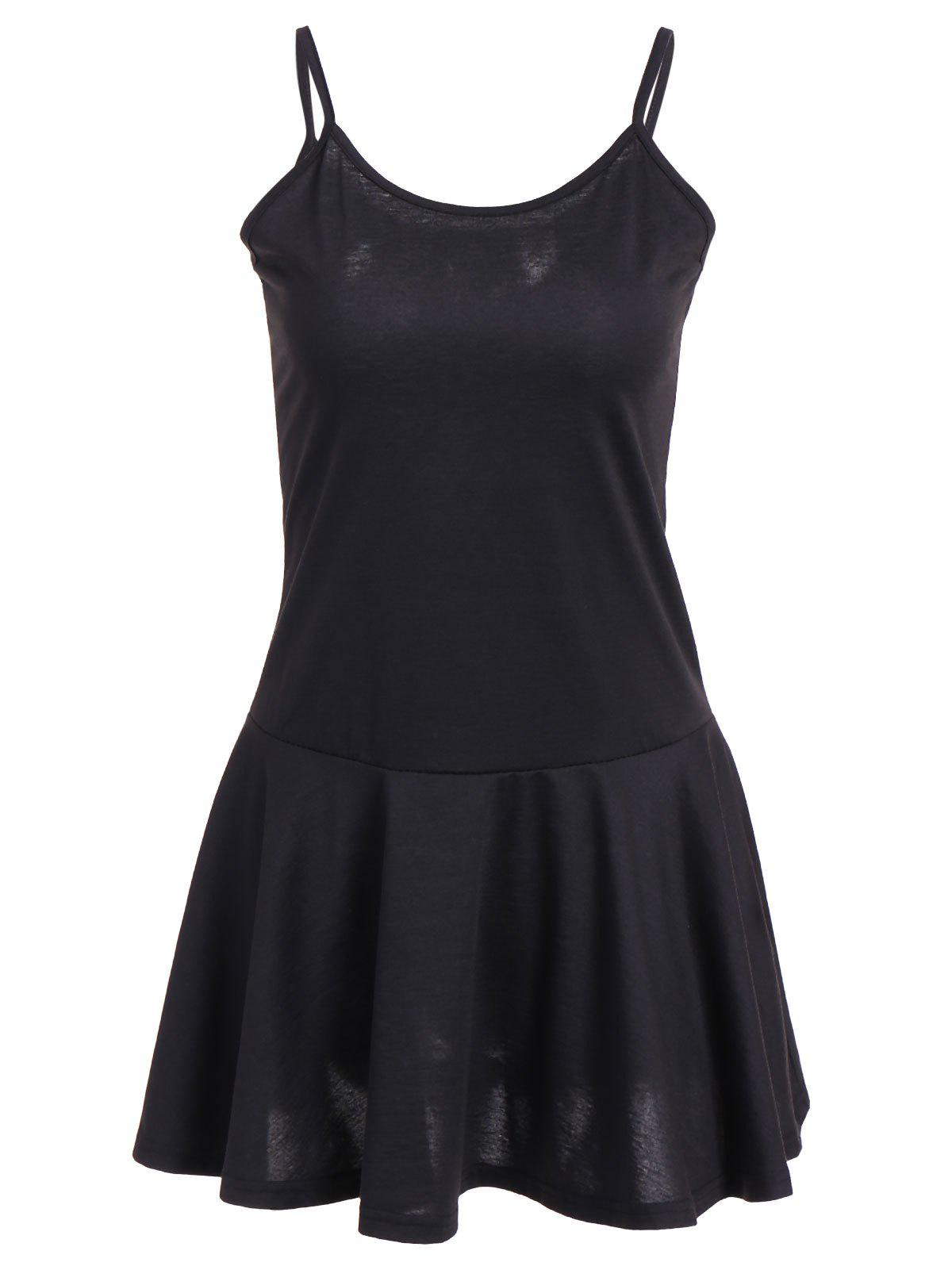 Ruffle Hem Cami DressWomen<br><br><br>Size: XL<br>Color: BLACK