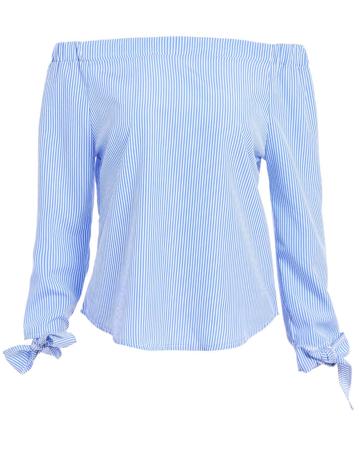 Tie Sleeve Off The Shoulder Top - BLUE/WHITE L
