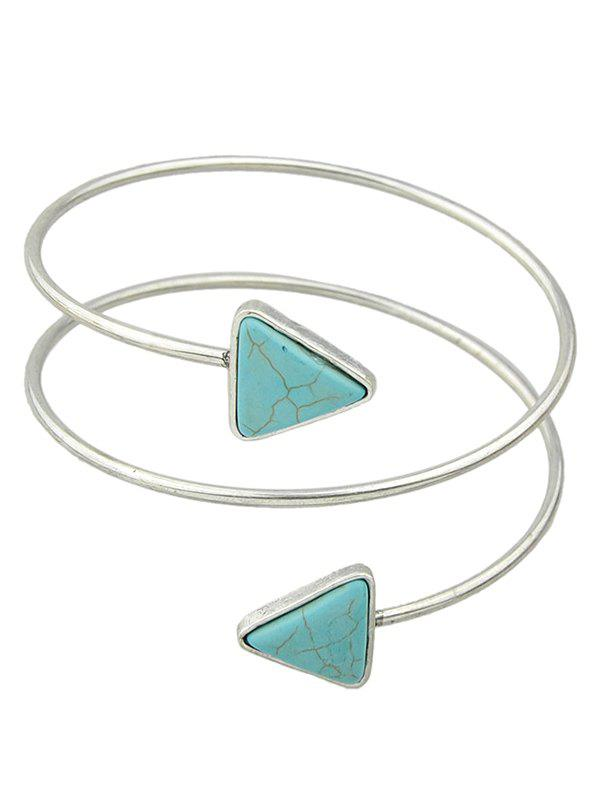 Faux Turquoise Triangle Arm Chain Jewelry - SILVER