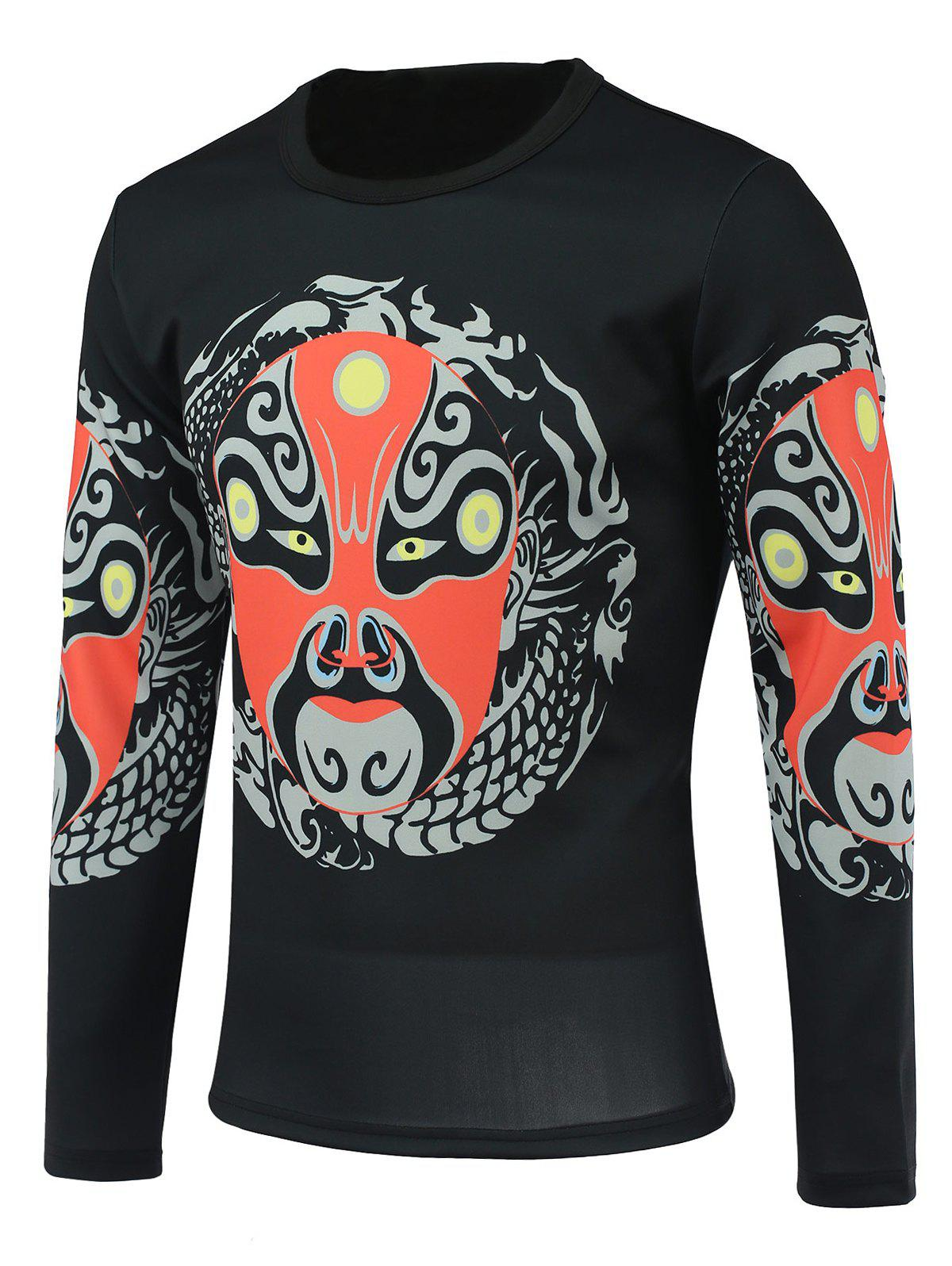 Peking Opera Face Print Round Neck Long Sleeve Men's T-Shirt