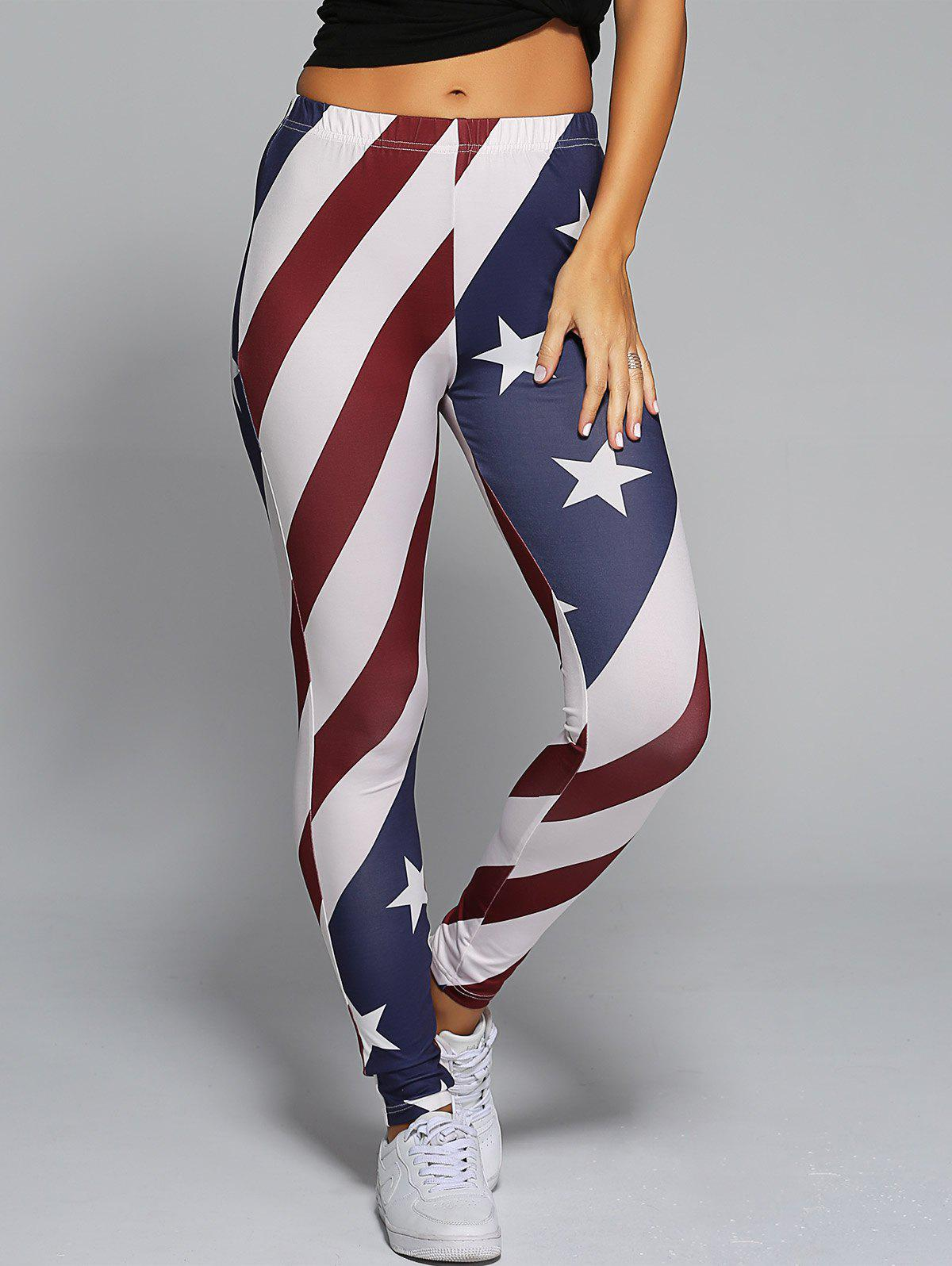 American Flag Print Skinny Pants - RED/WHITE/BLUE S