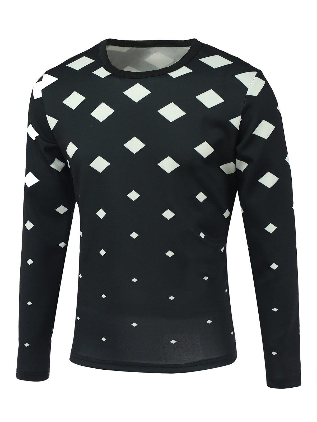 Geometric Print Round Neck Long Sleeve Men's T-Shirt - BLACK L