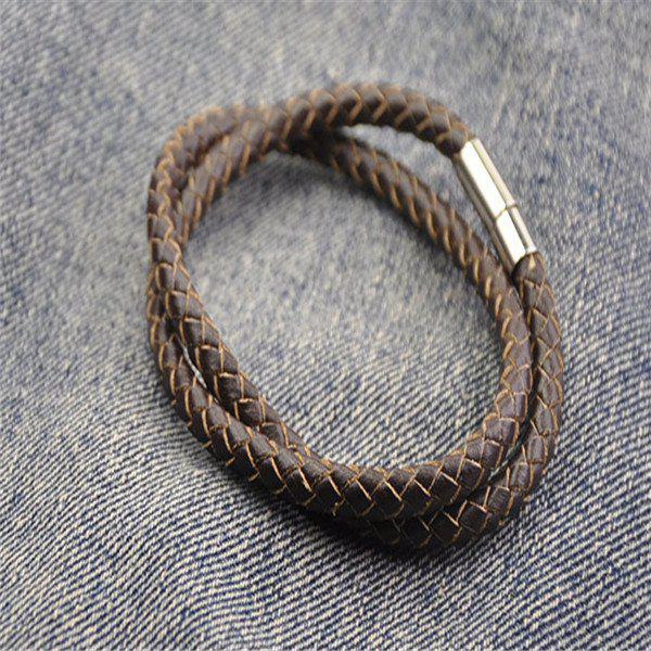 Layered Braided PU Leather Wrap Bracelet - BROWN