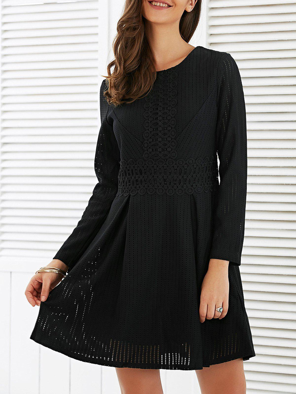 2018 Charme manches longues guipure Robe Noir XL In Robes Manches ... 38212a9bac6a