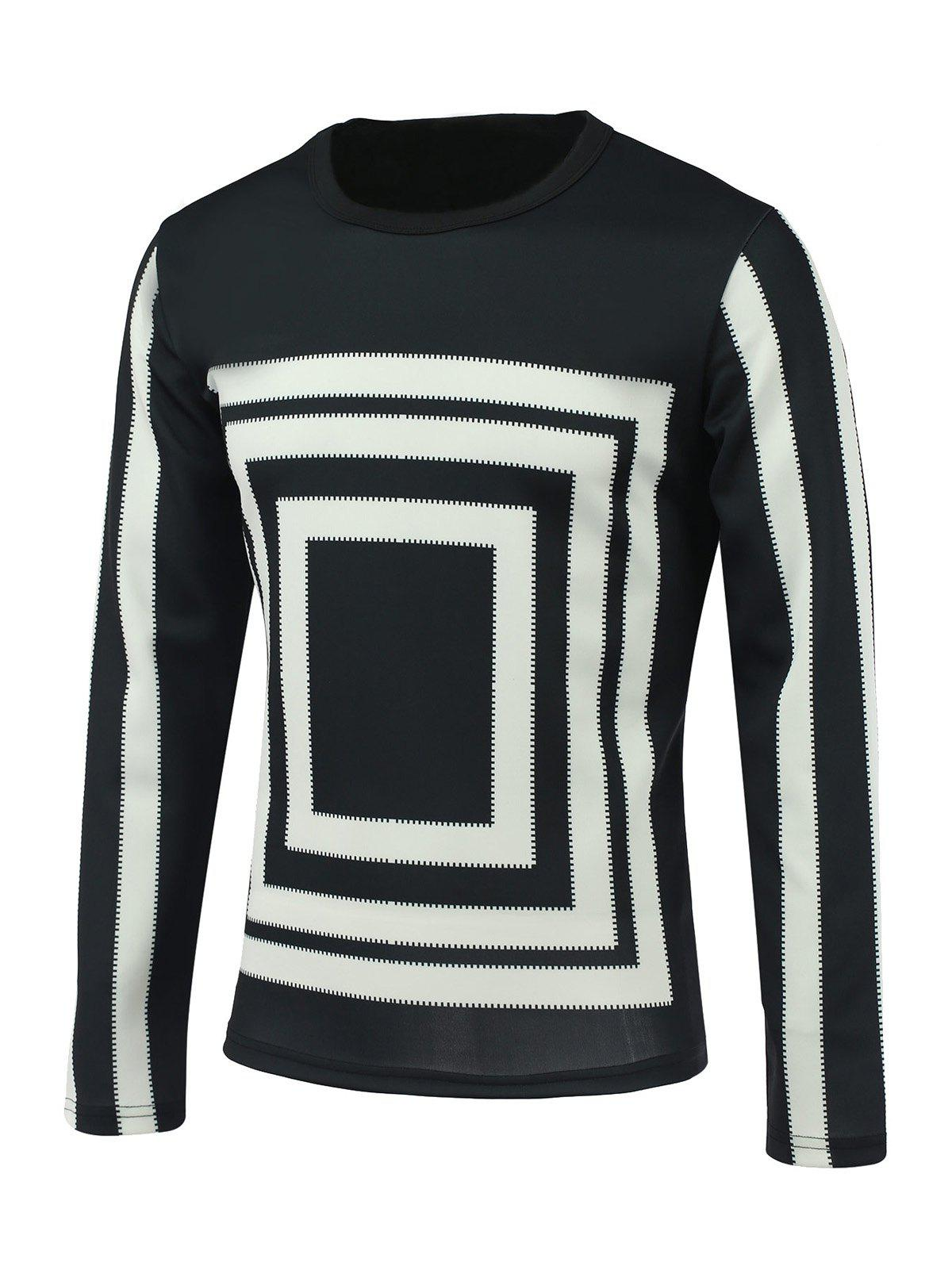 Round Neck Long Sleeve Box and Stripe Print Sweatshirt - BLACK 3XL