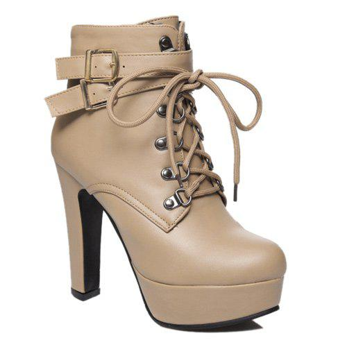 Fashion Tie Up and Double Buckle Design Women's Short Boots - APRICOT 38