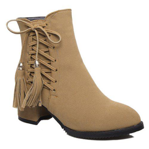 Trendy Criss-Cross and Tassels Design Women's Short Boots - LIGHT BROWN 39