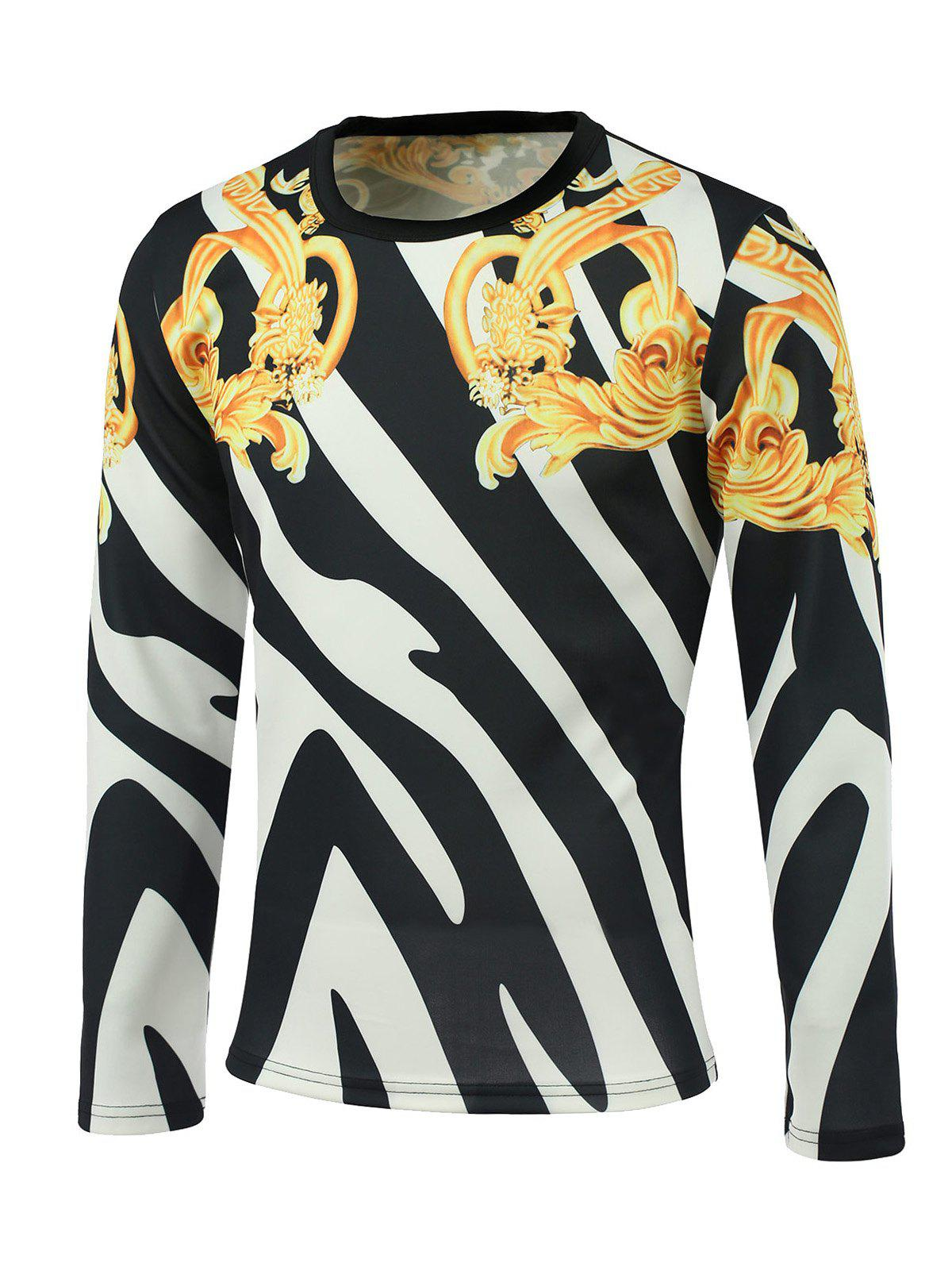 Round Neck Long Sleeve Floral and Color Block Print Sweatshirt