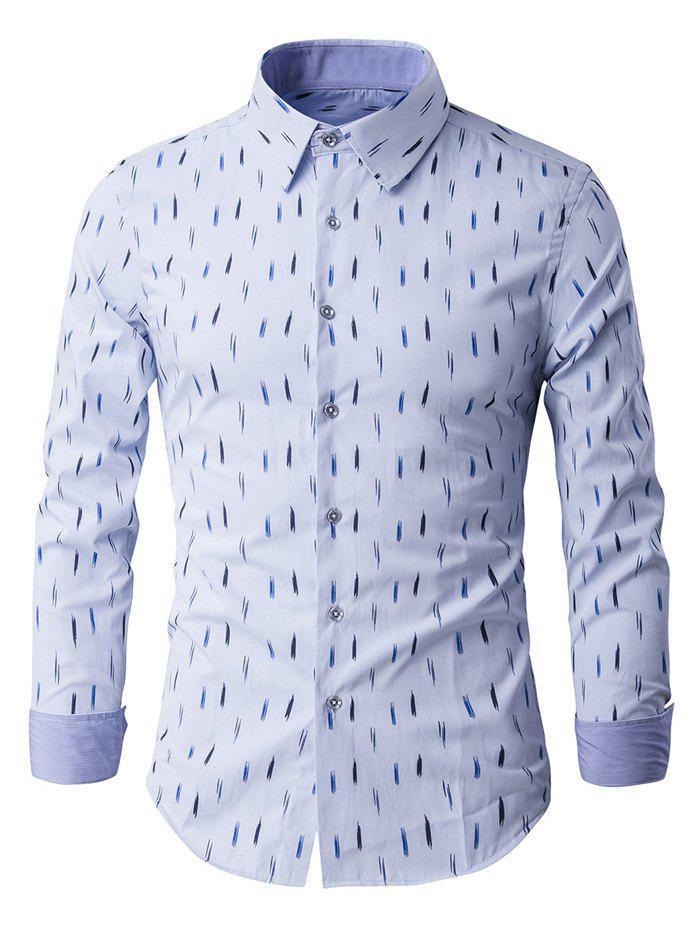 Anti-Wrinkle Design Printed Long Sleeve Shirt - LIGHT BLUE M