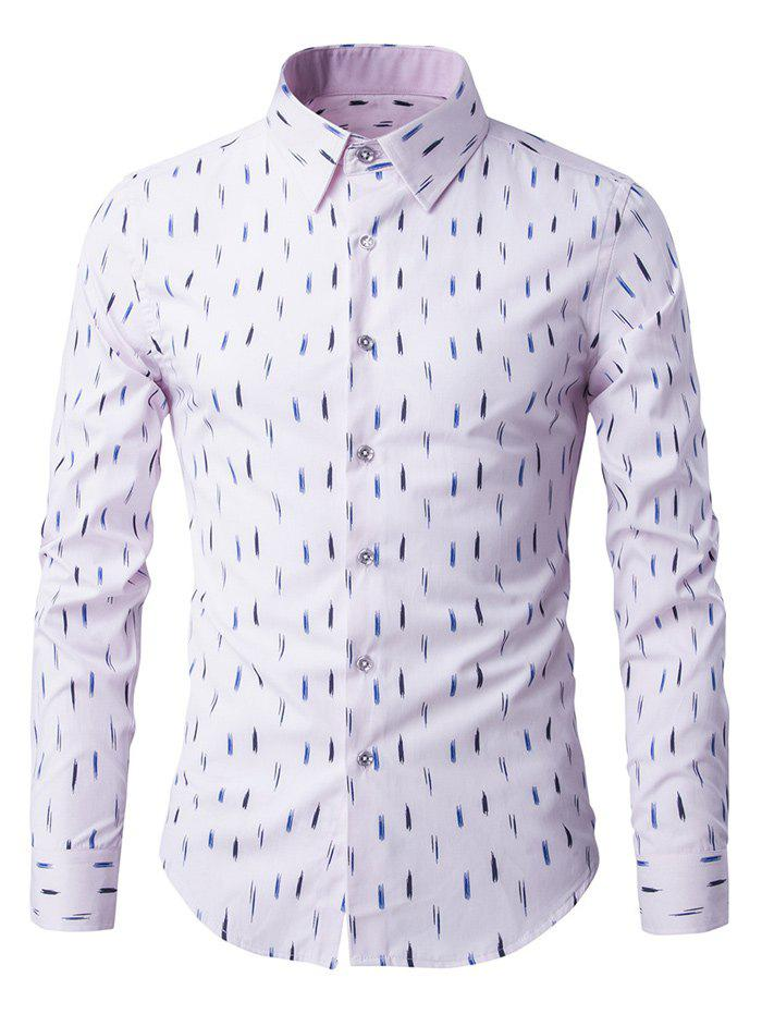 Anti-Wrinkle Design Printed Long Sleeve Shirt - PINK M