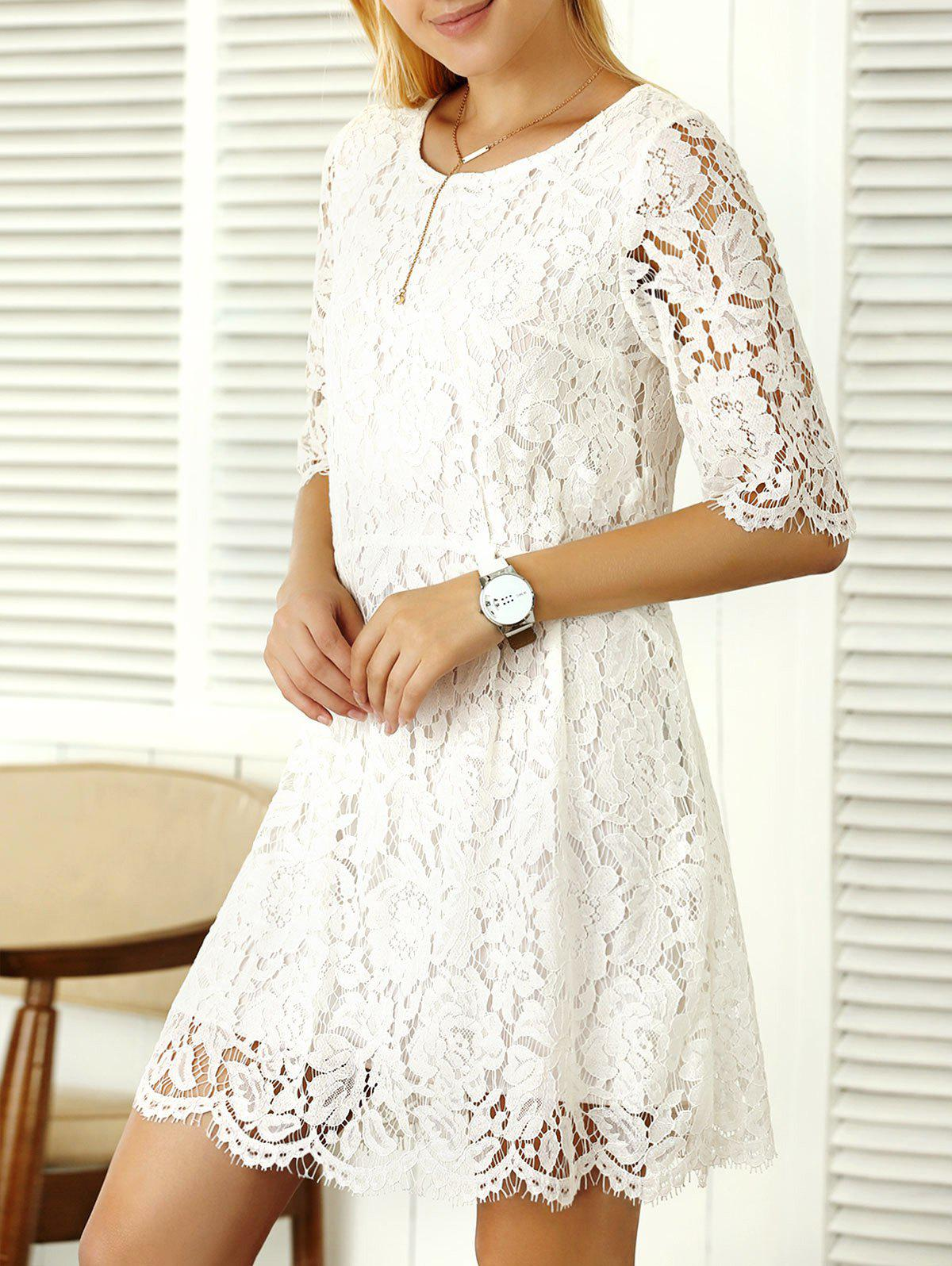 Elbow Sleeve A Line Lace Dress - WHITE XL