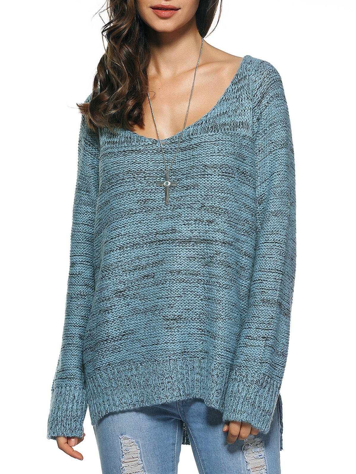 Long Sleeve Loose High Low Sweater, LIGHT BLUE, ONE SIZE in ...