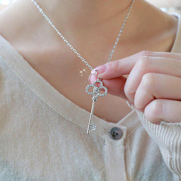 Rhinestoned Key Pendant Sweater Chain - SILVER