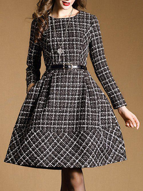 Belted Checked Skater Dress with Sleeves ключ трещотка gross comfort 14084