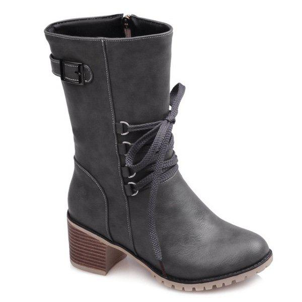 Buckle Mid-Calf Lace-Up Boots - GRAY 37