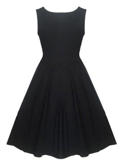 Sleeveless Swing High-Waisted Flare Dress - BLACK XL