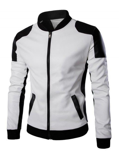 Stand Collar Color Block Faux Leather Jacket - WHITE 4XL