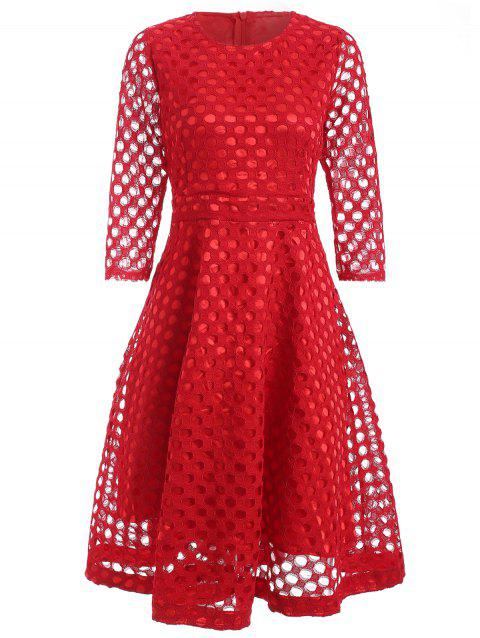 High-Waisted Hollow Out Slimming Dress - RED 2XL
