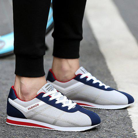 Stitching Color Block Athletic Shoes - BLUE/GRAY 44