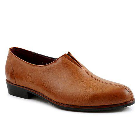 Elastic PU Leather Pointed Toe Formal Shoes - BROWN 41