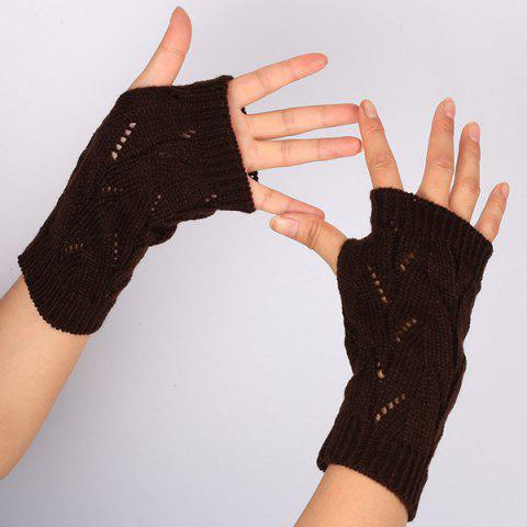 1 Pair Crochet Branch Pattern Fingerless  Gloves - DEEP BROWN