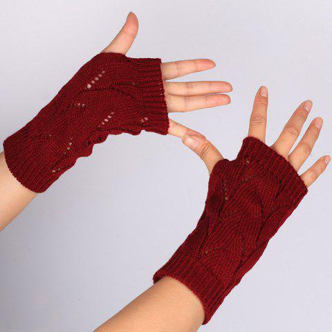 1 Pair Crochet Branch Pattern Fingerless  Gloves - RED