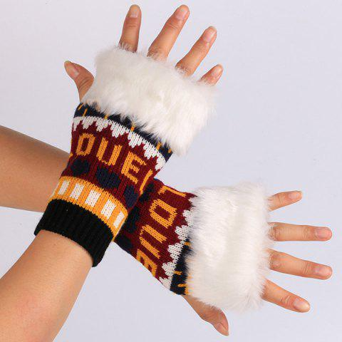 Warmer Gants en tricot Love Letter Peluche Mitaines - Orange
