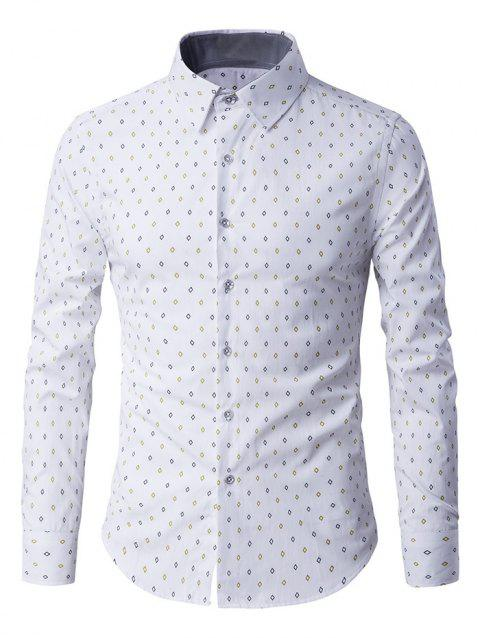 Button-Up manches longues Rhombus Motif shirt - Blanc XL