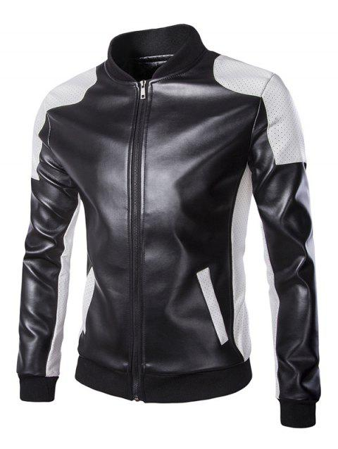 Stand Collar Color Block Faux Leather Jacket - BLACK M
