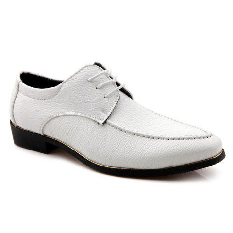Pointed Toe Tie Up Embossing Formal Shoes - WHITE 43