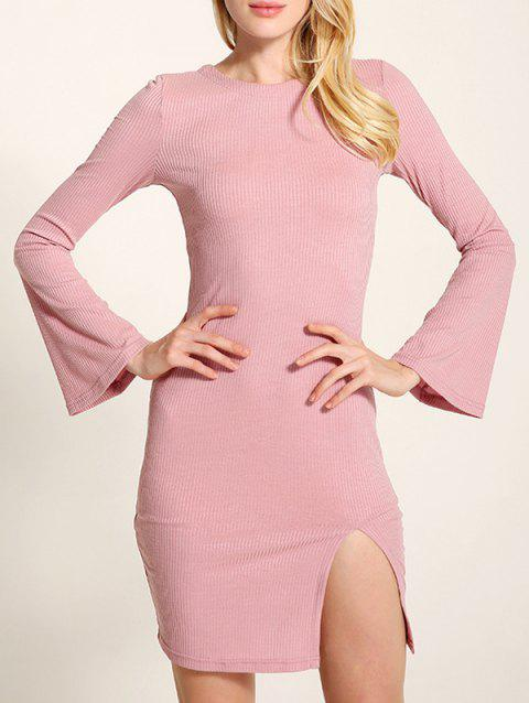 Bell Sleeve Lace Up Fit Slit Jumper Dress - LIGHT PINK S