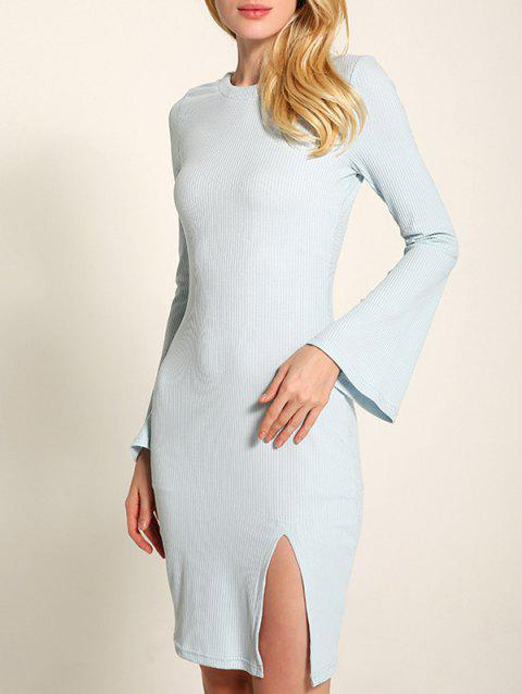 Bell Sleeve Lace Up Fit Slit Jumper Dress - LIGHT BLUE M