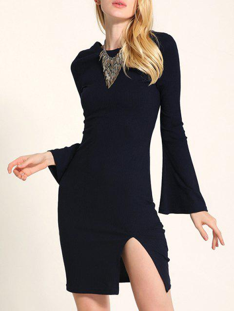 Bell Sleeve Lace Up Fit Slit Jumper Dress - BLACK 2XL