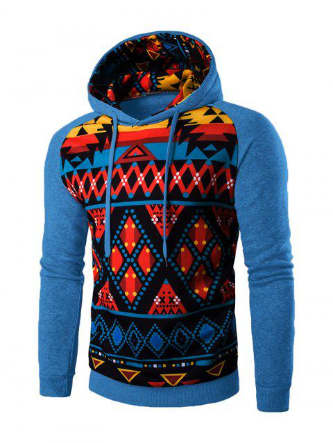 Cartoon Geometric Long Sleeve Hoodie - BLUE 2XL