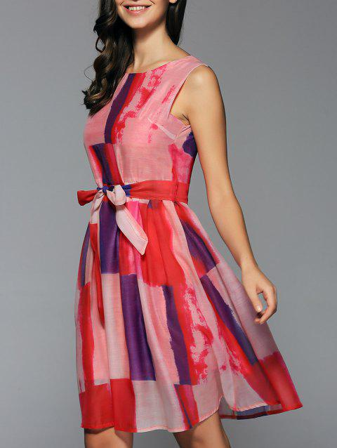 Preppy Style Sleeveless Belted Color Block Dress - RED S
