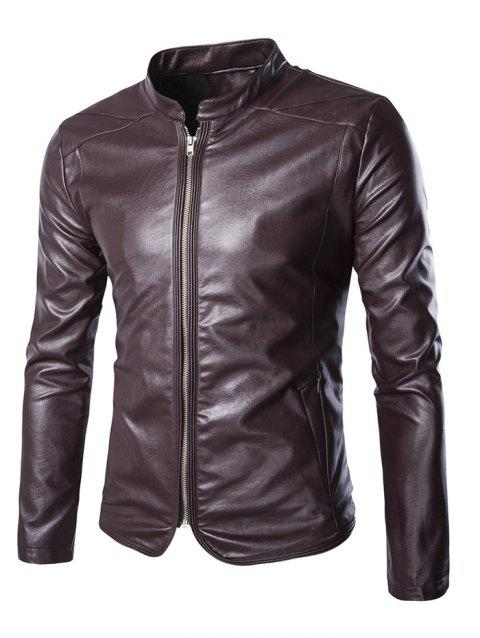 Stand Collar Slim-Fit Faux Leather Biker Jacket - WINE RED 2XL