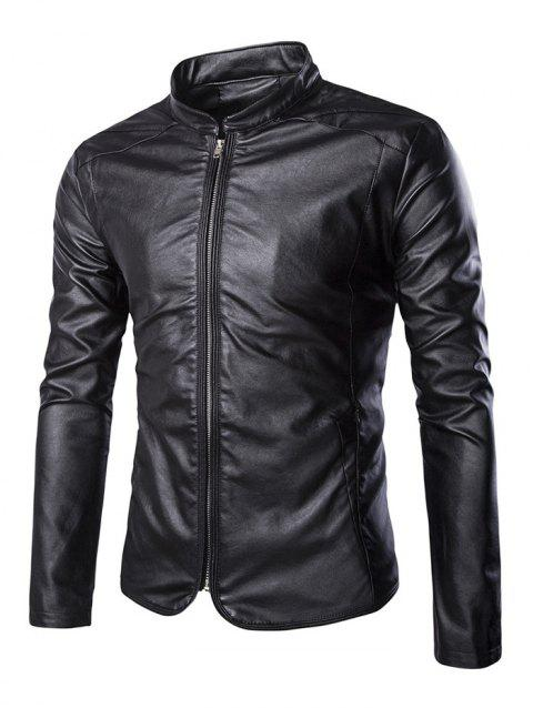 Stand Collar Slim-Fit Faux Leather Biker Jacket - BLACK 2XL
