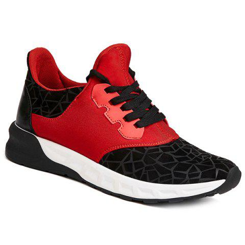 Flock Lace-Up Geometric Print Athletic Shoes - RED/BLACK 40