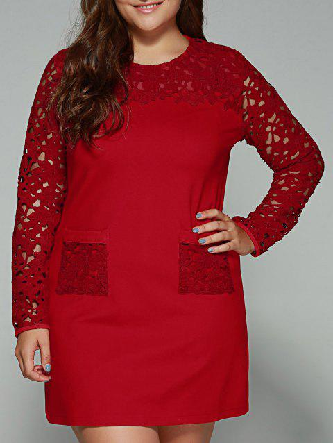 Plus Size Lace Pockets Long Sleeve Dress - RED 2XL