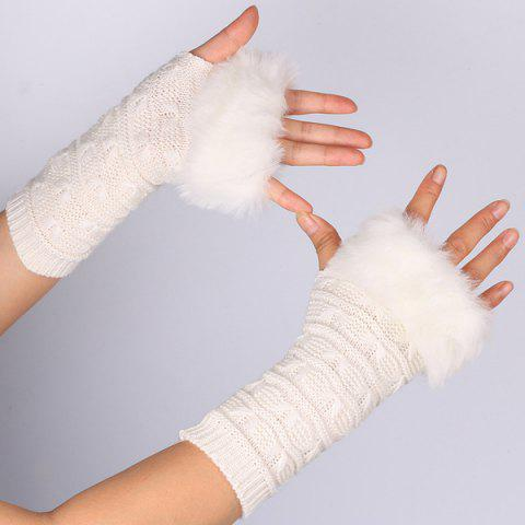 Winter Warm Plush Knitted Fingerless Butterfly Gloves - OFF WHITE