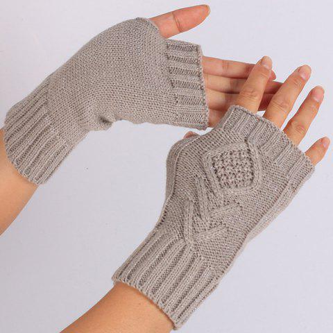knitting Rhombus Line Embellished Fingerless  Gloves - GRAY
