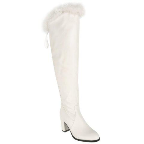 d253628cb063 2019 Chunky Heel Back Lace-Up Over The Knee Boots In WHITE 39 ...