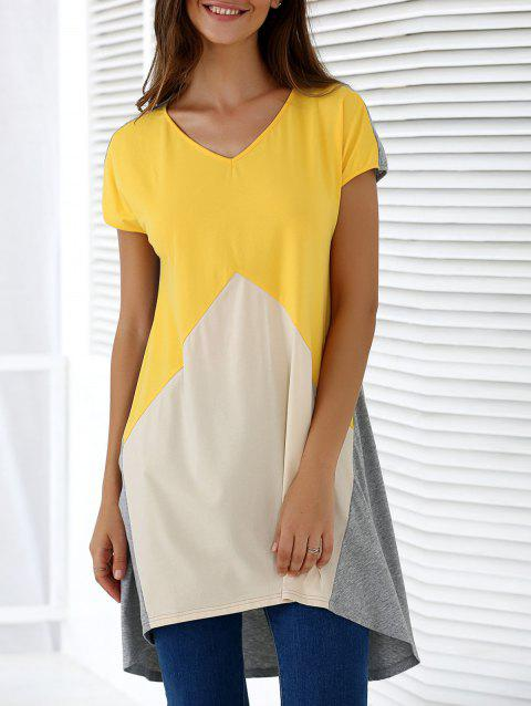 Fashionable Women's V-Neck Short Sleeve Contrast Color Loose-Fitting Blouse - COLORMIX S