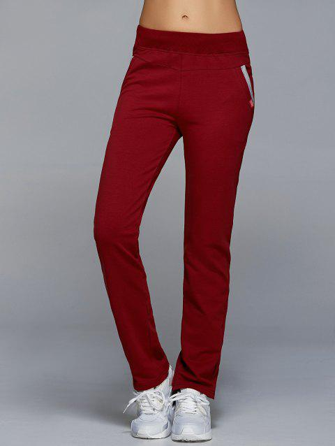 High Waisted Pockets Straight Pants - WINE RED S