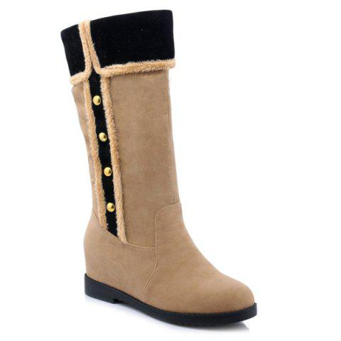 Bouton Bottes Suede Invisible Wedge mi-mollet - Abricot 38