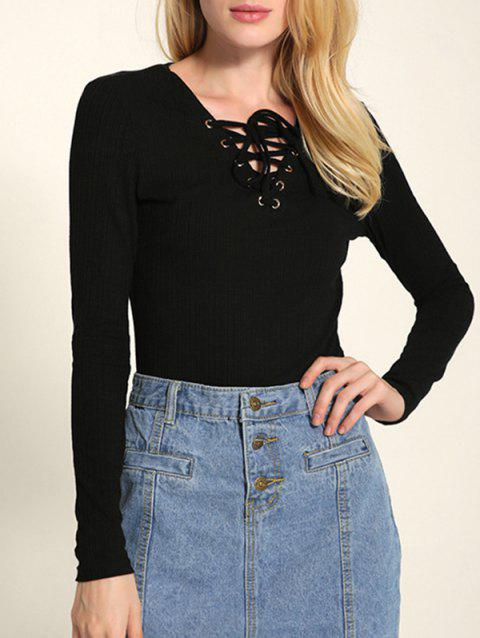 Long Sleeve Front Lace Up Knitwear - BLACK M