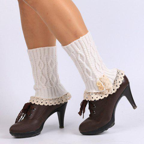 Buttons Lace Edge Rhombus Knitted Boot Cuffs - WHITE