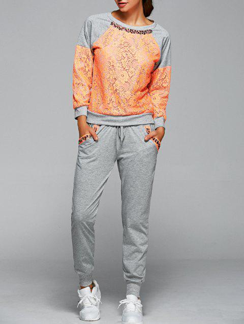 Lace Spliced Sweatshirt With Running Jogger Pants - ORANGE L