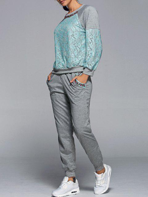 Lace Spliced Sweatshirt With Running Jogger Pants - GREEN S
